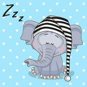 Cute Sleeping Elephant — Cтоковый вектор