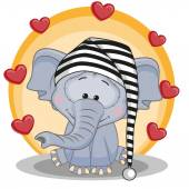 Elephant with hearts card — Vettoriale Stock