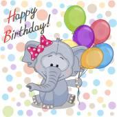 Elephant with balloons card — Stok Vektör