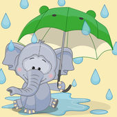 Elephant with umbrella card — Vector de stock
