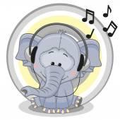 Cartoon  Elephant with headphones — Stock Vector