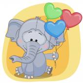 Elephant with balloons card — Stock Vector