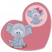 Dreaming Elephant card — Vector de stock