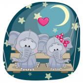 Lovers Elephants card — Stock Vector
