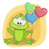 Frog with balloons card — Stock Vector