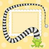 Frog in hat card — Stock Vector