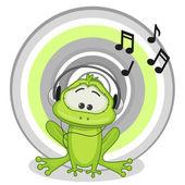 Cute  Frog with headphones — Stock Vector