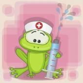 Cute Frog nurse — Wektor stockowy