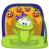 Halloween  Frog with pumpkin — Stockvector