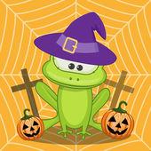 Halloween  Frog with pumpkin — Stockvector