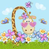 Χαριτωμένο καμηλοπάρδαλη με λουλούδια — Διανυσματικό Αρχείο