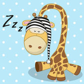 Cute Sleeping Giraffe — Stock vektor