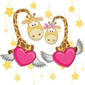 Cute  Lovers Giraffe — Stock Vector