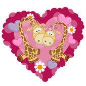 Cute  Two Giraffe — Stock Vector