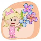 Baby Girl with flowers — Stock Vector