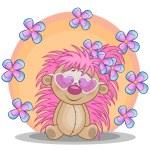 Happy Hedgehog with flowers — Stock Vector #63276445