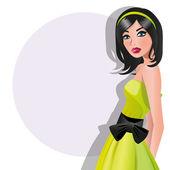 Fashion Girl in dress — Vettoriale Stock