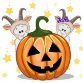 Halloween Goats with pumpkin — Vetor de Stock