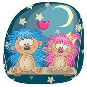 Cute  Lovers hedgehogs — Stock Vector