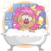 Cute hedgehog  in the bathroom — Stock Vector