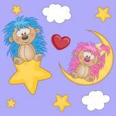 Happy Lovers Hedgehogs — Stock Vector