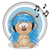Happy  Hedgehog with headphones — Stock Vector
