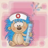 Cute Hedgehog nurse — Vettoriale Stock
