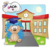 Hedgehog pupil and school — Stock Vector
