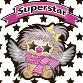 Superstar Hedgehog with star glasses — Stock Vector