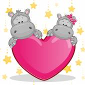 Cute  Lovers Hippos — Stock Vector