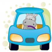 Hippo in a car — Stockvektor