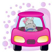 Hippo meisje in een auto — Stockvector