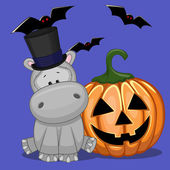 Halloween Hippos with pumpkin — Stock Vector