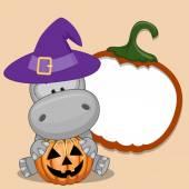 Halloween Hippo with pumpkin — Stock Vector