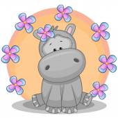 Cute  Hippo with flowers — Stock Vector