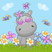 Cute Hippo with flowers — Cтоковый вектор