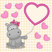 Hipopotam z serca ramki — Wektor stockowy