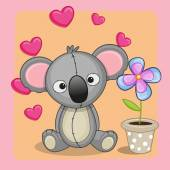 Koala with heart and flower — Stock Vector