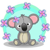 Koala with flowers — Stock Vector