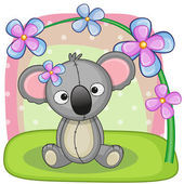 Koala with spring  flowers — Stock Vector