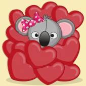 Koala in red  hearts — Stockvektor