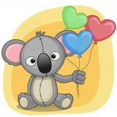 Koala with balloons hearts — Stockvektor