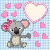 Koala with heart frame — Stock Vector