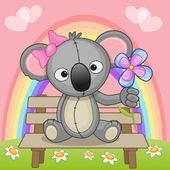 Cute Koala with flower — Stock Vector