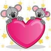Lovers Koalas with heart — Stock Vector