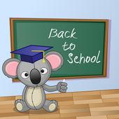Cartoon Koala wrote in classroom — Stock Vector