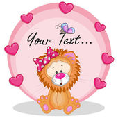 Lion with pink  hearts — Stock Vector