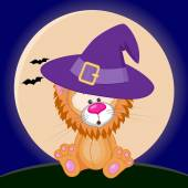 Halloween Lion in hat — Stock Vector