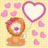 Lion with heart frame — Wektor stockowy