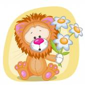Cute Lion with flowers — Stock Vector